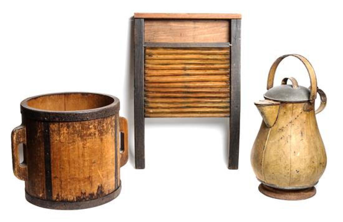 Oversized Metal Kettle, Wood Bucket and Wash Board