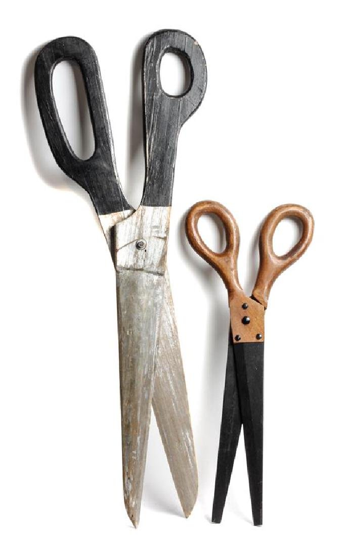 Two Pairs of Oversized Scissors Length of larger 36