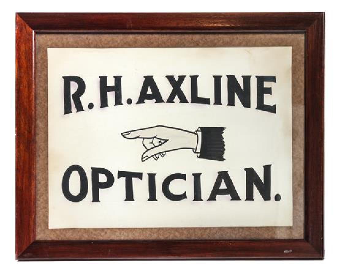 Vintage Optician's Trade Sign Framed: 17 1/2 x 22