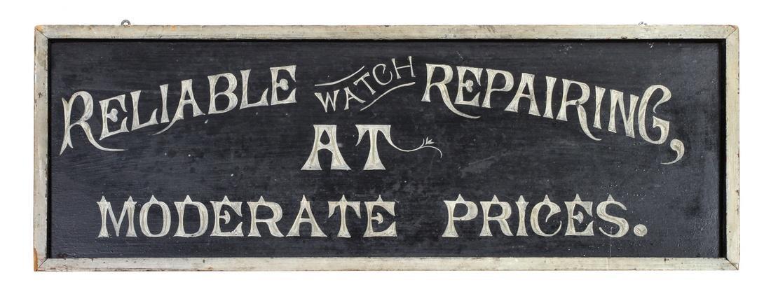 Vintage Watch Repair Trade Sign Height 11 1/4 x width