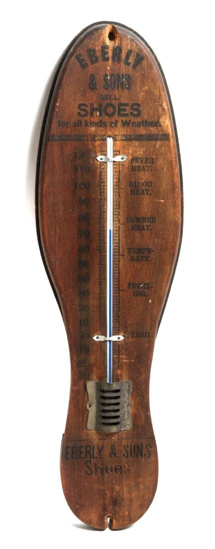 Vintage Shoe Store Trade Sign Thermometer Height 21 x