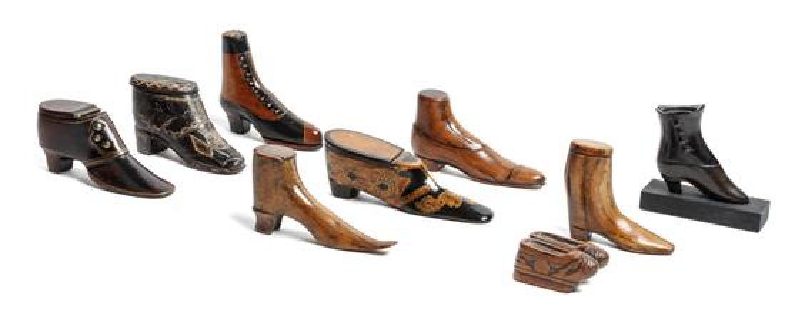 Nine Miniature Carved Wood Shoes Height of tallest 2