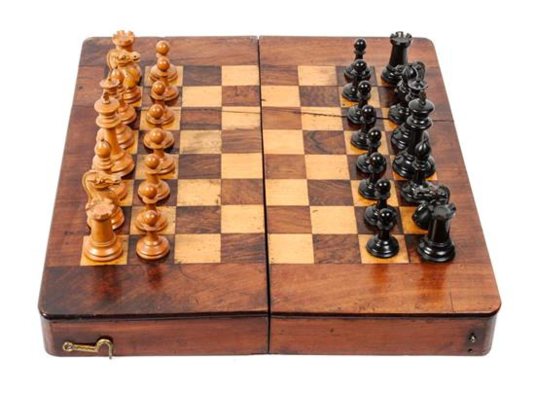 Vintage Wood Chess Box Height of box 1 5/8 x width 13 - 2