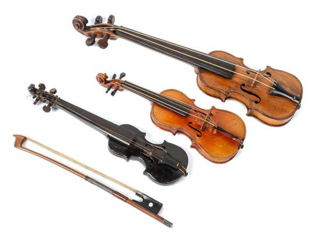Three Miniature Violins Length of longest 16 1/2 inches