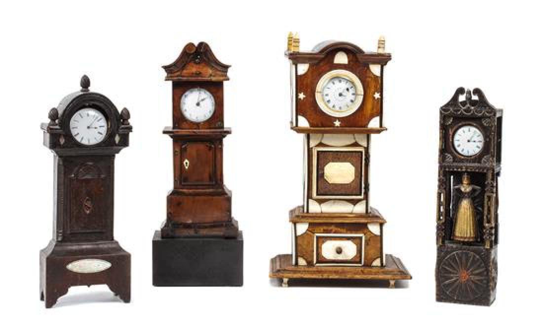 Four Miniature Tall Case Clocks Height of tallest 13