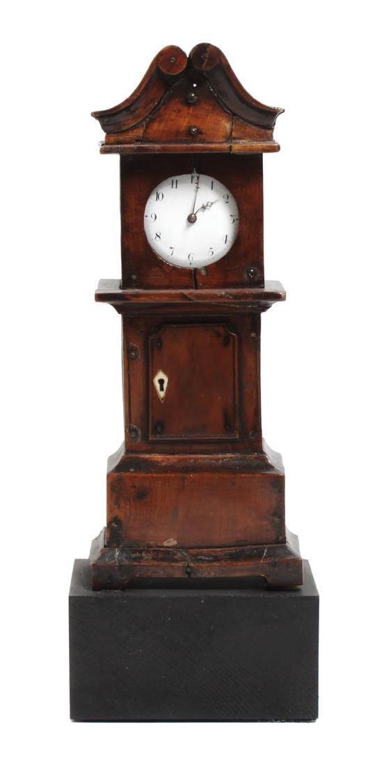 Four Miniature Tall Case Clocks Height of tallest 13 - 3
