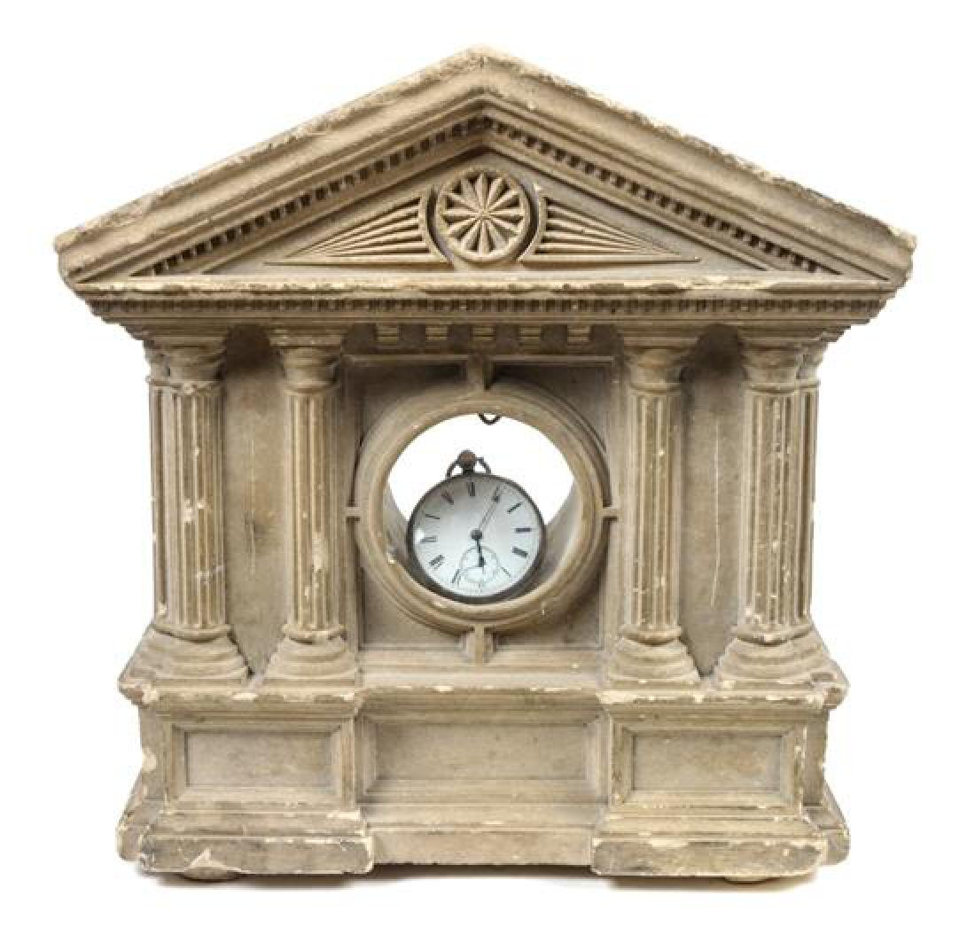 Carved Stone Pocket Watch Hutch Height 12 x width 11