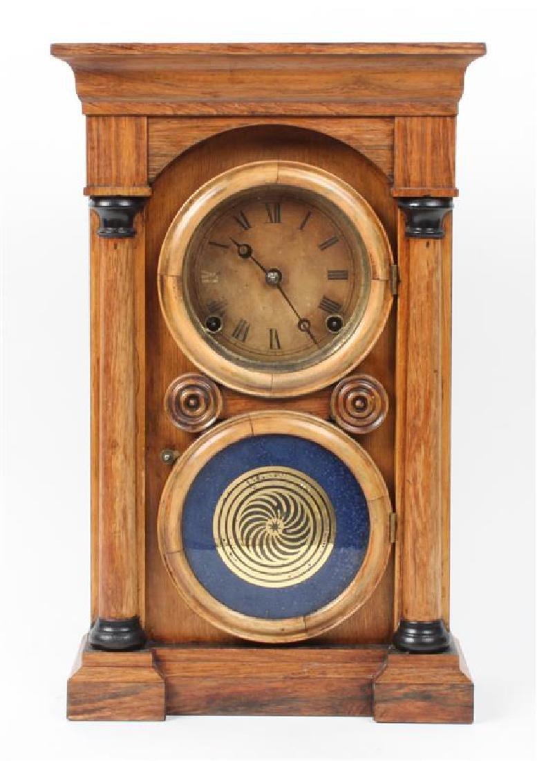 American Wood Mantle Clock Height 17 x width 10 3/4 x