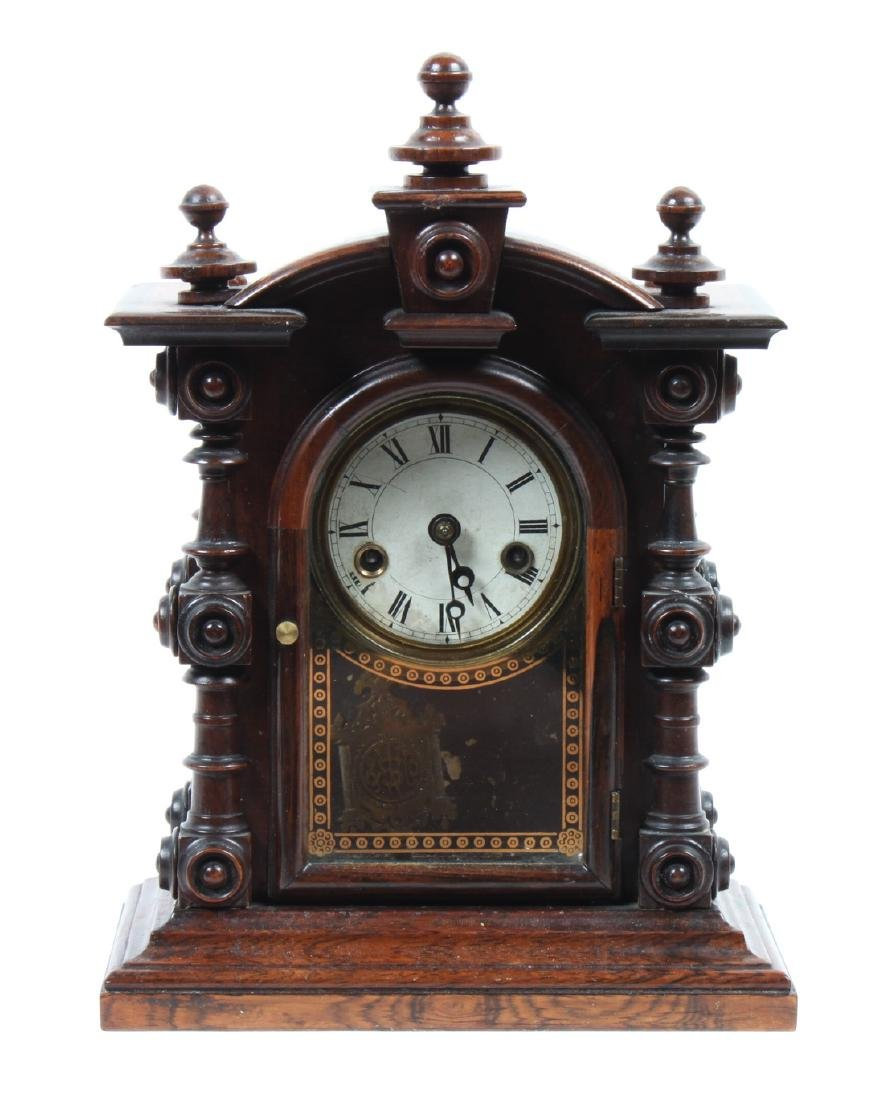 American Carved Wood Mantel Clock Height 10 1/4 inches