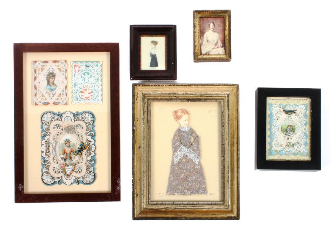 Five Framed Decorative Paper Objects Largest (framed)