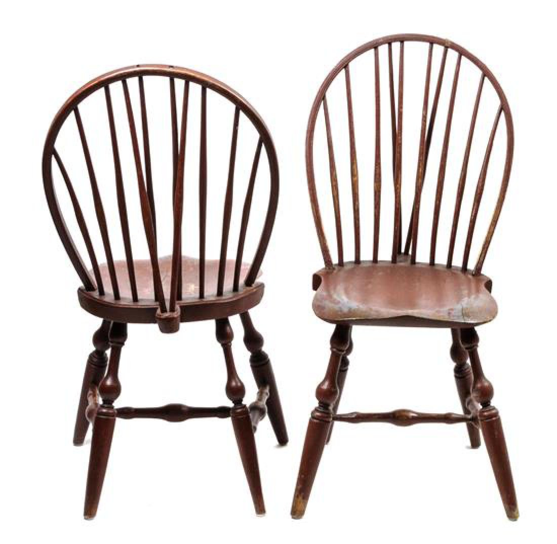 Pair of American Painted Wood Side Chairs Height 38 x