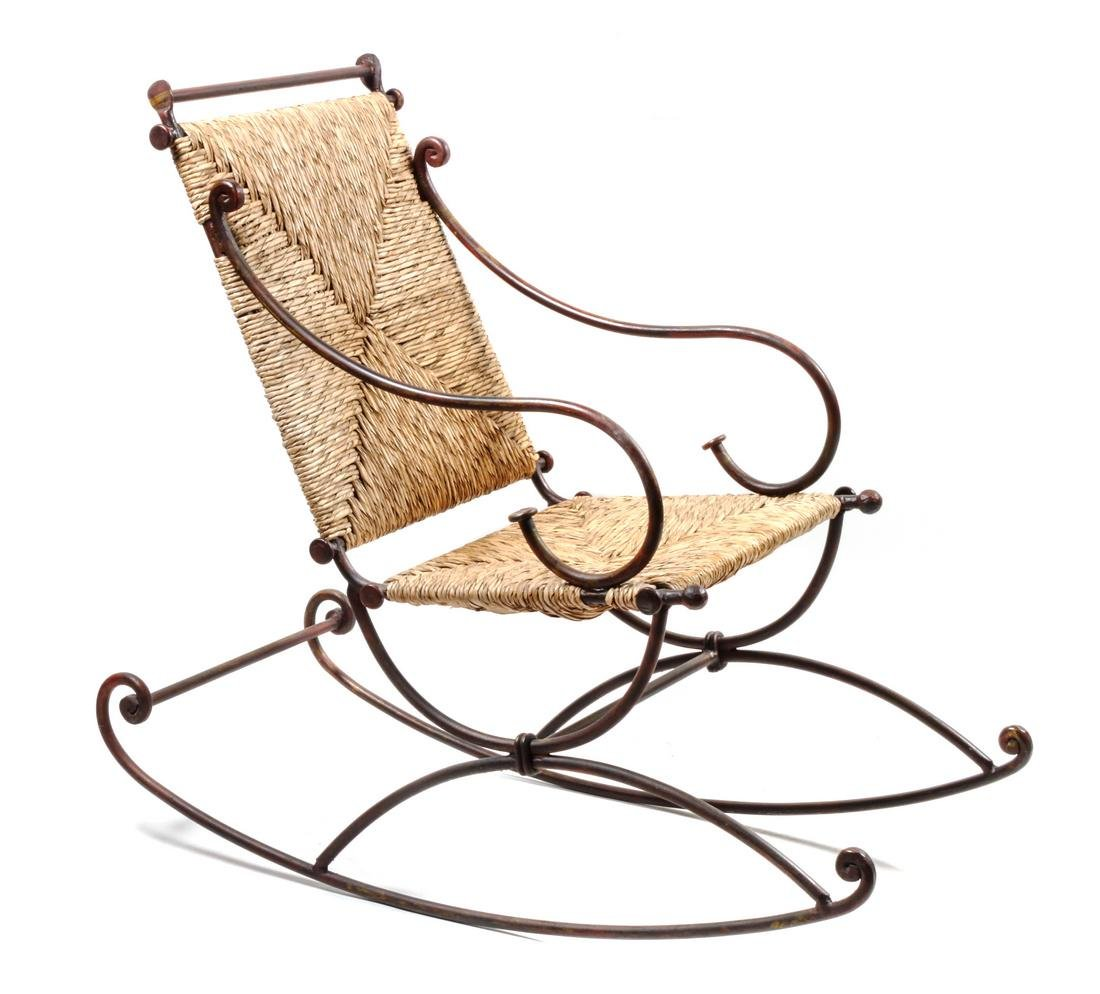American Wicker and Iron Rocking Chair Height 44 x