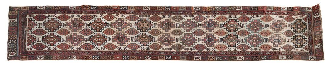 Kurdish Caucasian Runner 33 1/2 x 149 inches