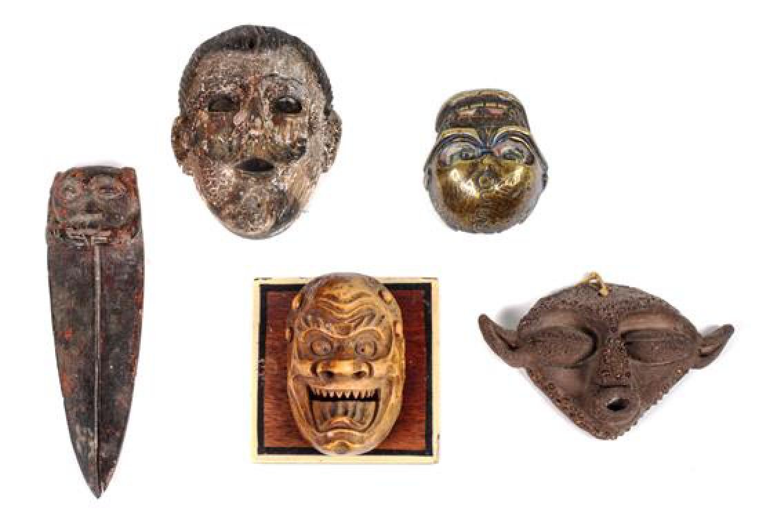 Group of Miniature Masks Height of tallest (with stand) - 2