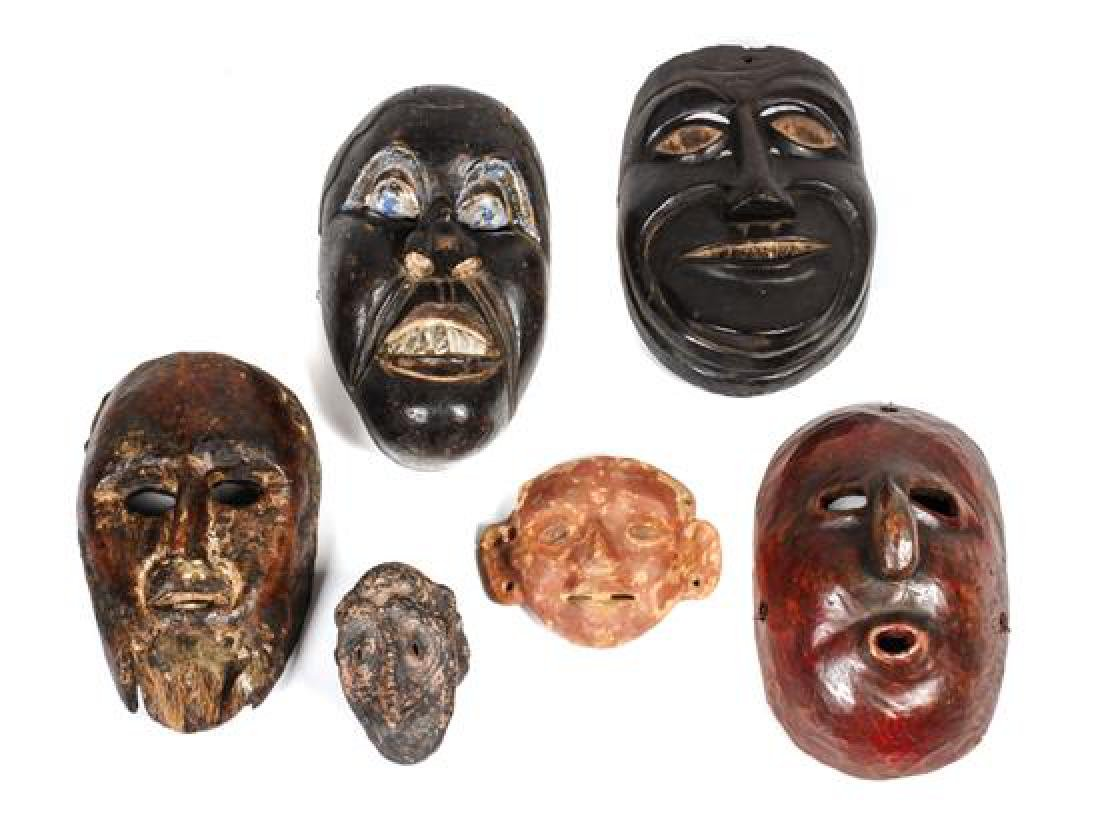 Six Mexican Masks Height of largest 9 1/2 inches