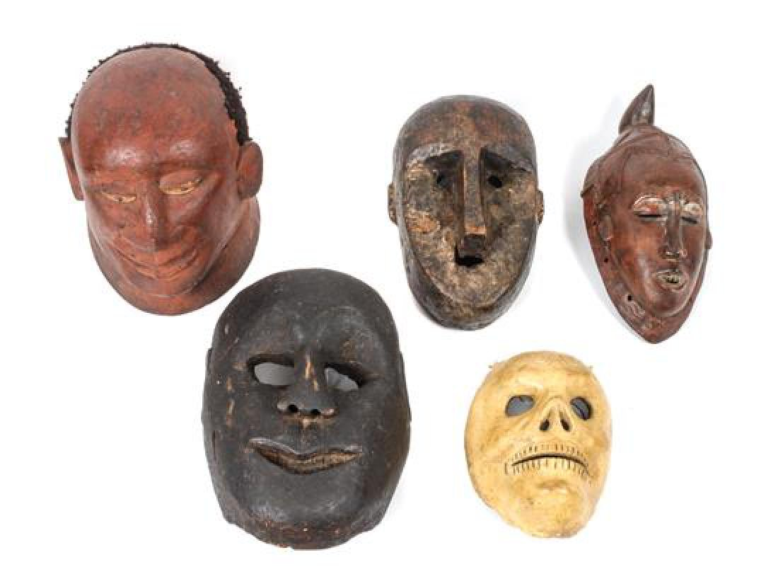 Five Decorative Masks Height of largest 11 1/2 inches