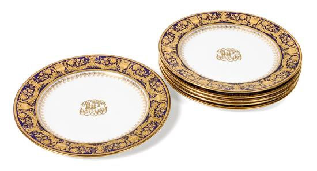Six Worcester Porcelain Plates Diameter 10 1/8 inches
