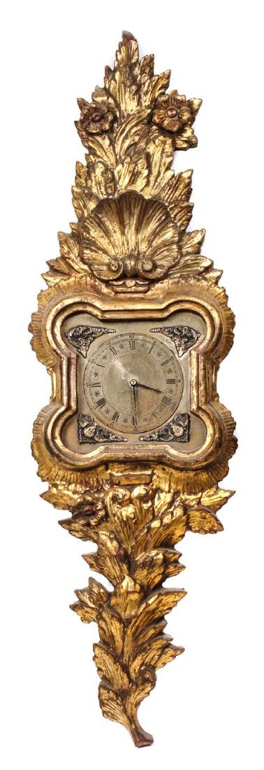 Carved Giltwood Clock Height 37 x width 11 inches
