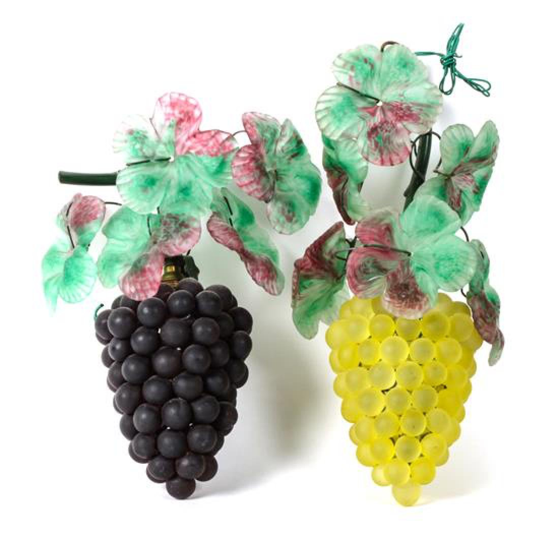 Pair of Glass Grape Clusters Height 12 inches