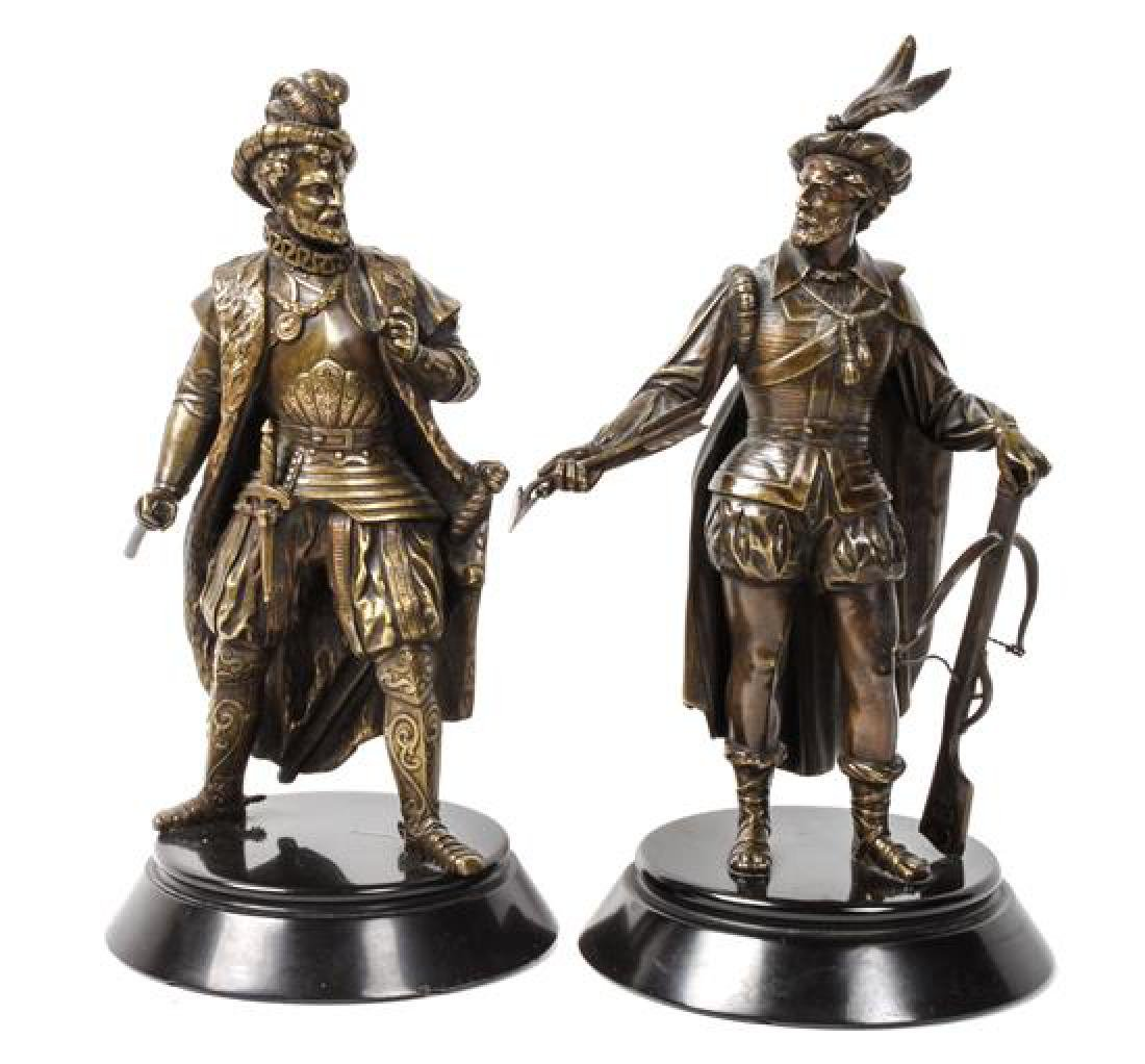 Pair of Bronze Figures Height of each 9 1/2 inches