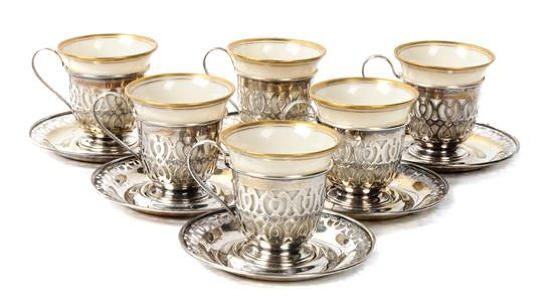 Whiting & Lenox Silver and Porcelain Demitasse Set