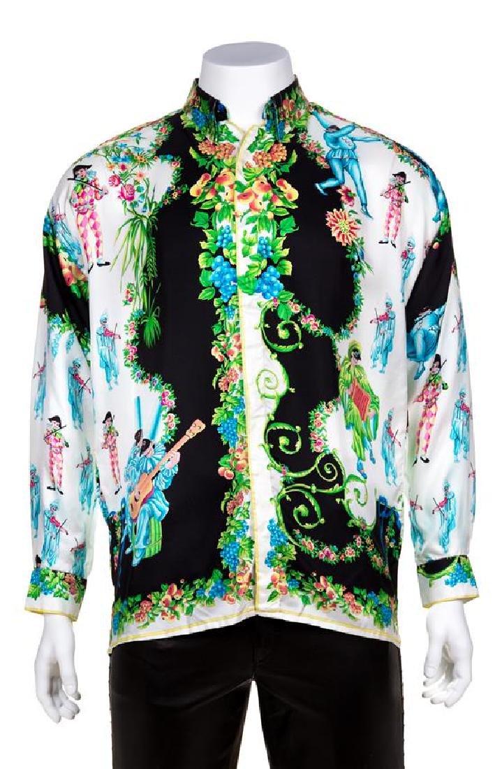 A Gianni Versace Silk Atelier Print Shirt, Size 48.