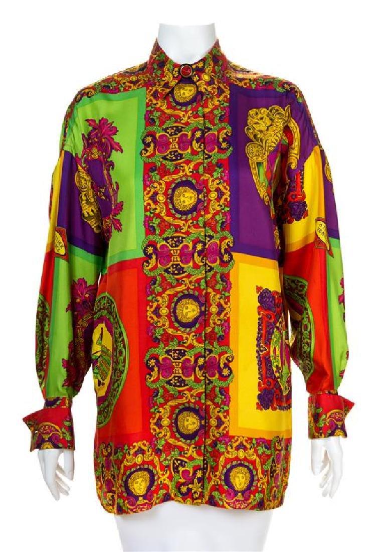 A Gianni Versace Silk Atelier Print Shirt, Size 42.