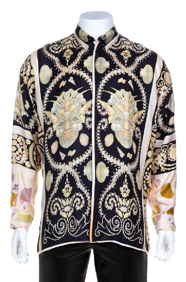 A Gianni Versace Silk Print Shirt, Size 52.
