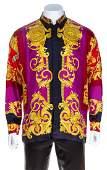 A Gianni Versace Silk Print Shirt Size 54