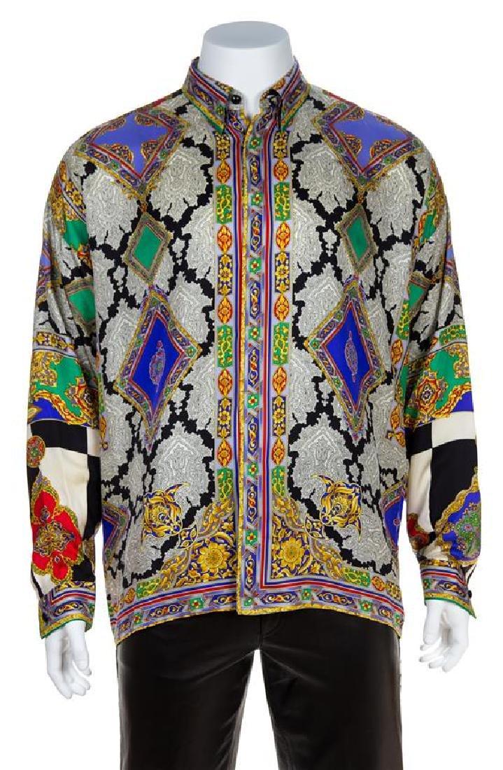 A Gianni Versace Silk Atelier Print Shirt, Size 54.