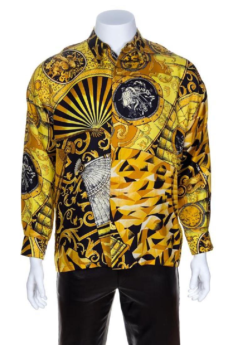 A Gianni Versace Silk Print Shirt, No size.