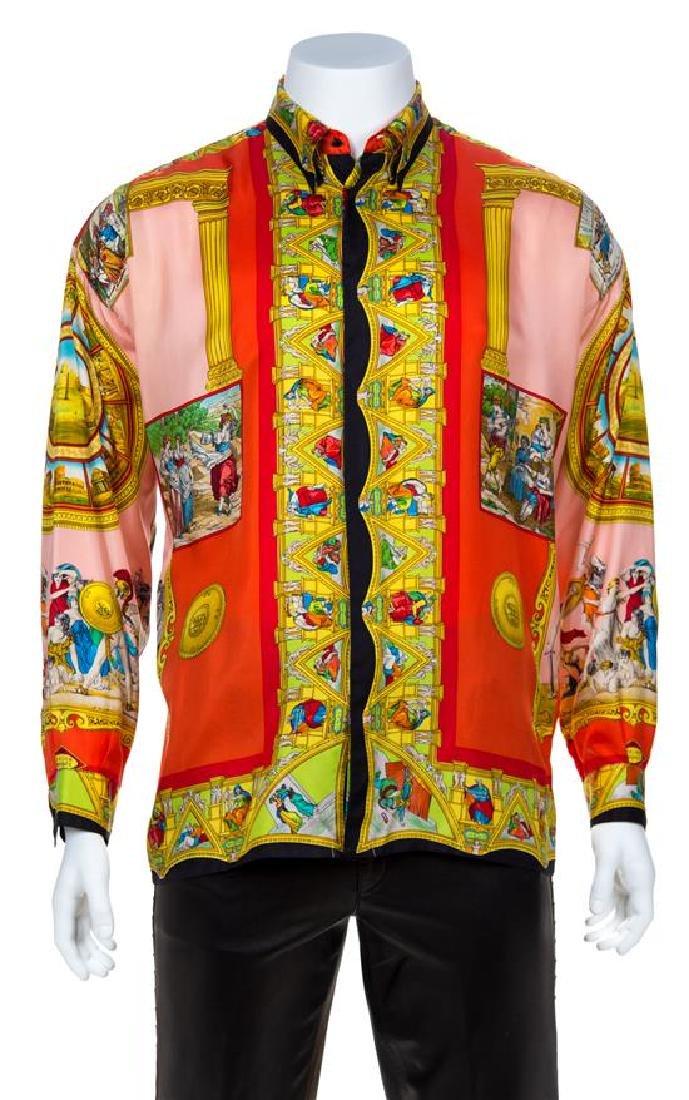 A Gianni Versace Silk Atelier Print Shirt, Size 50.