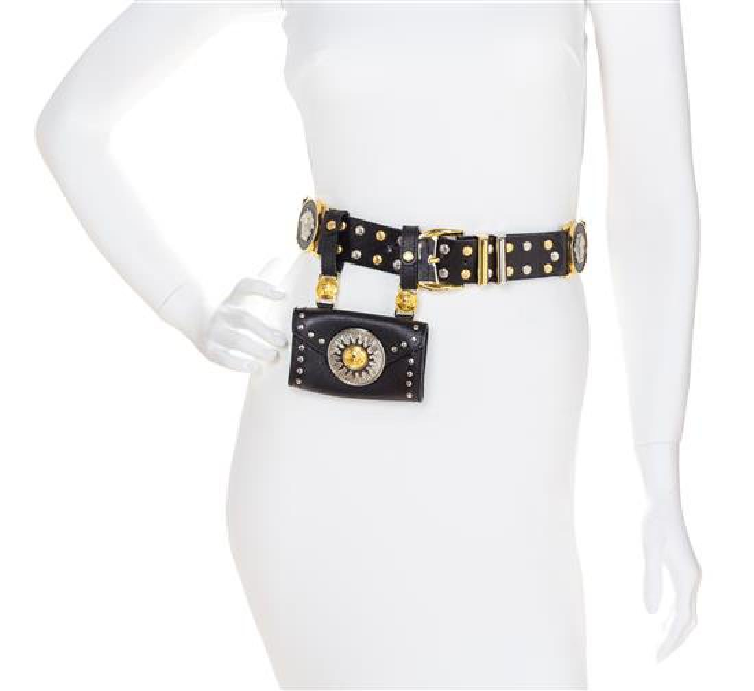 A Gianni Versace Black Leather Belt with Pouch, Belt