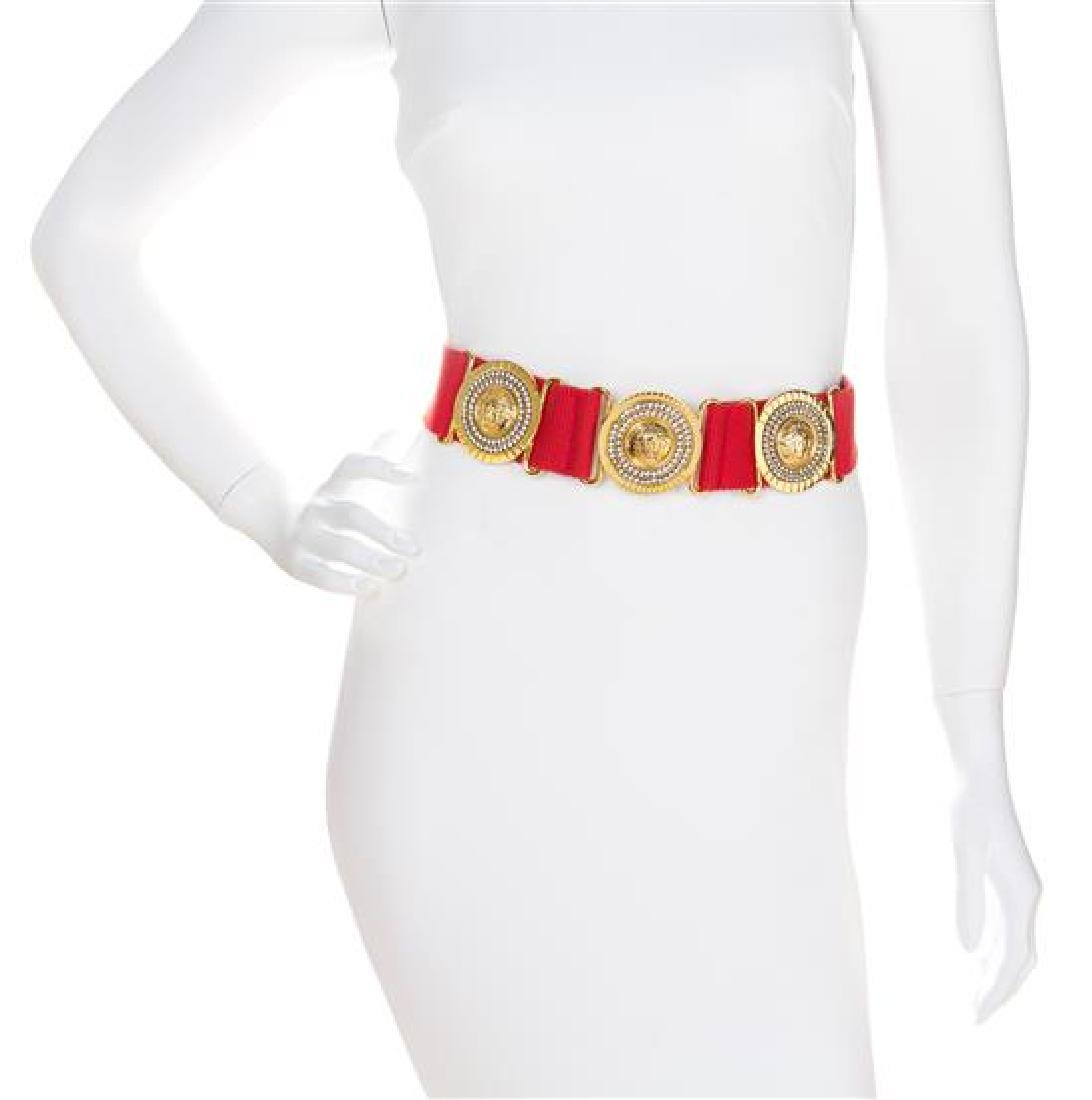 "A Gianni Versace Red Canvas Belt, Medallions: 2.25"" x"