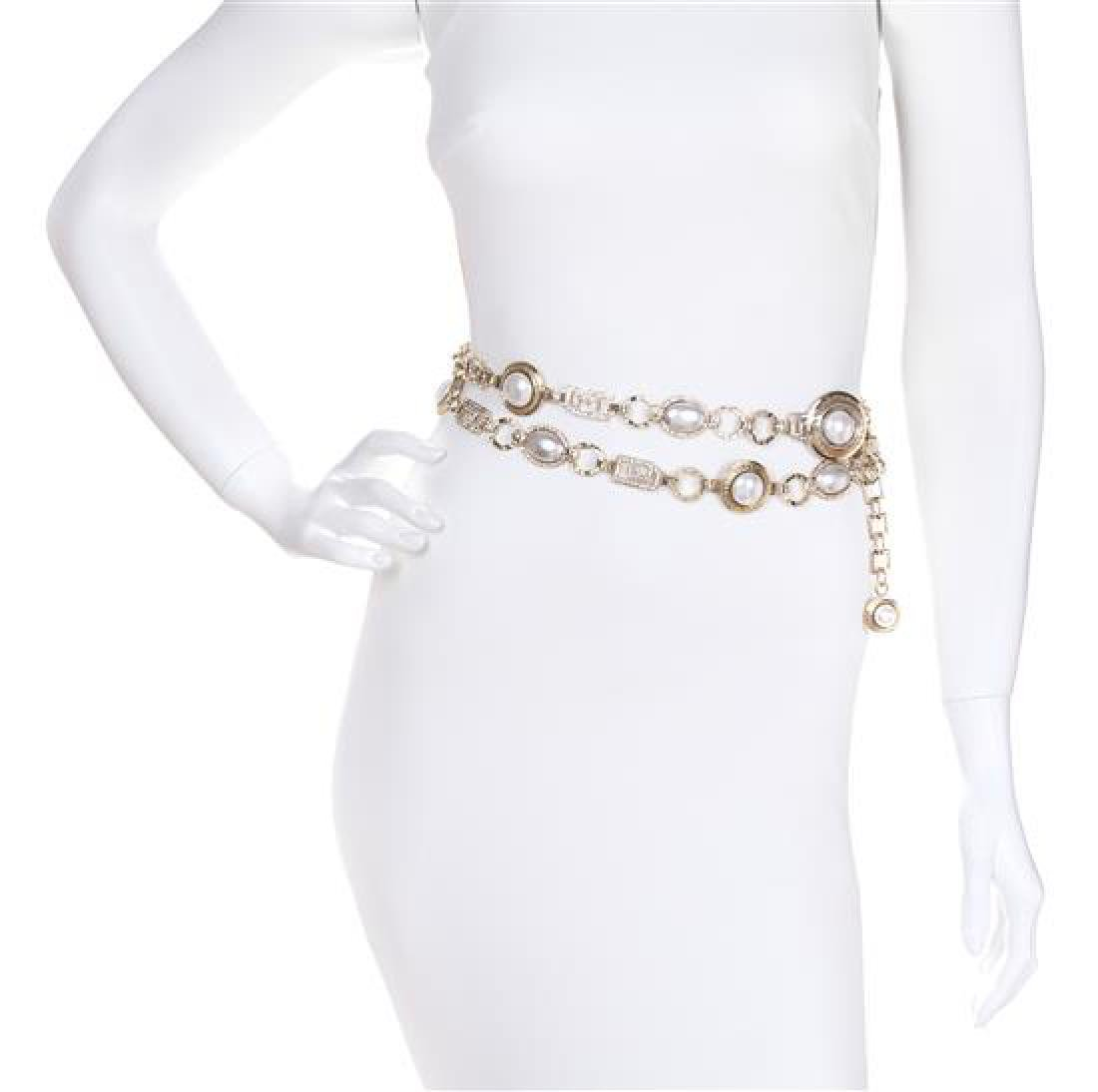 A Gianni Versace Pearl and Rhinestone Greco Link Belt,