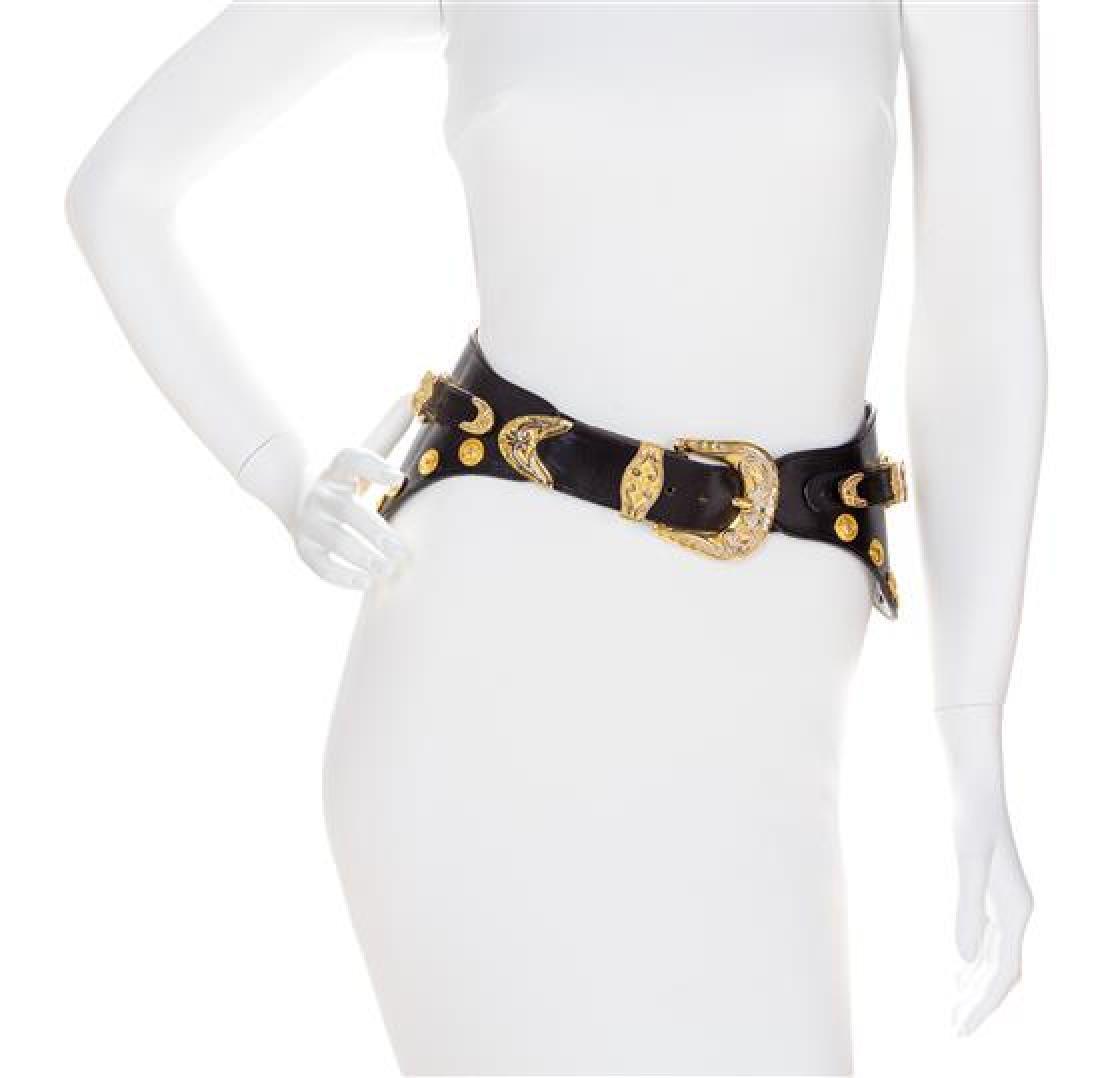 A Gianni Versace Black Leather Medallion Wide Belt,