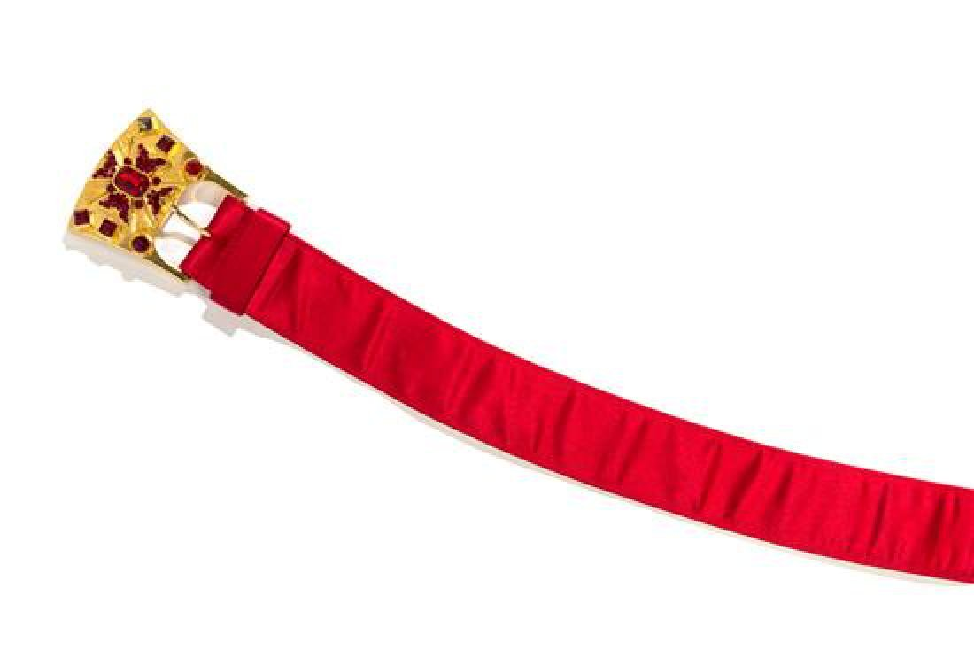 A Gianni Versace Red Satin Belt, Size 70.