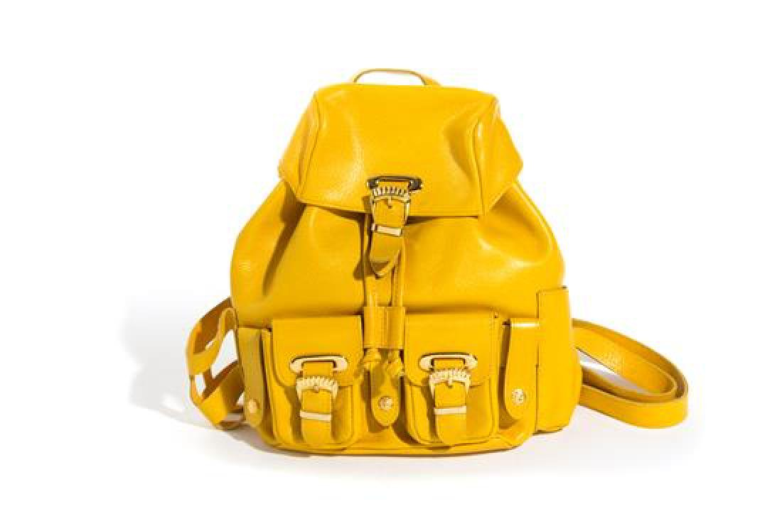 "A Gianni Versace Yellow Leather Small Backpack, 9"" x 8"""