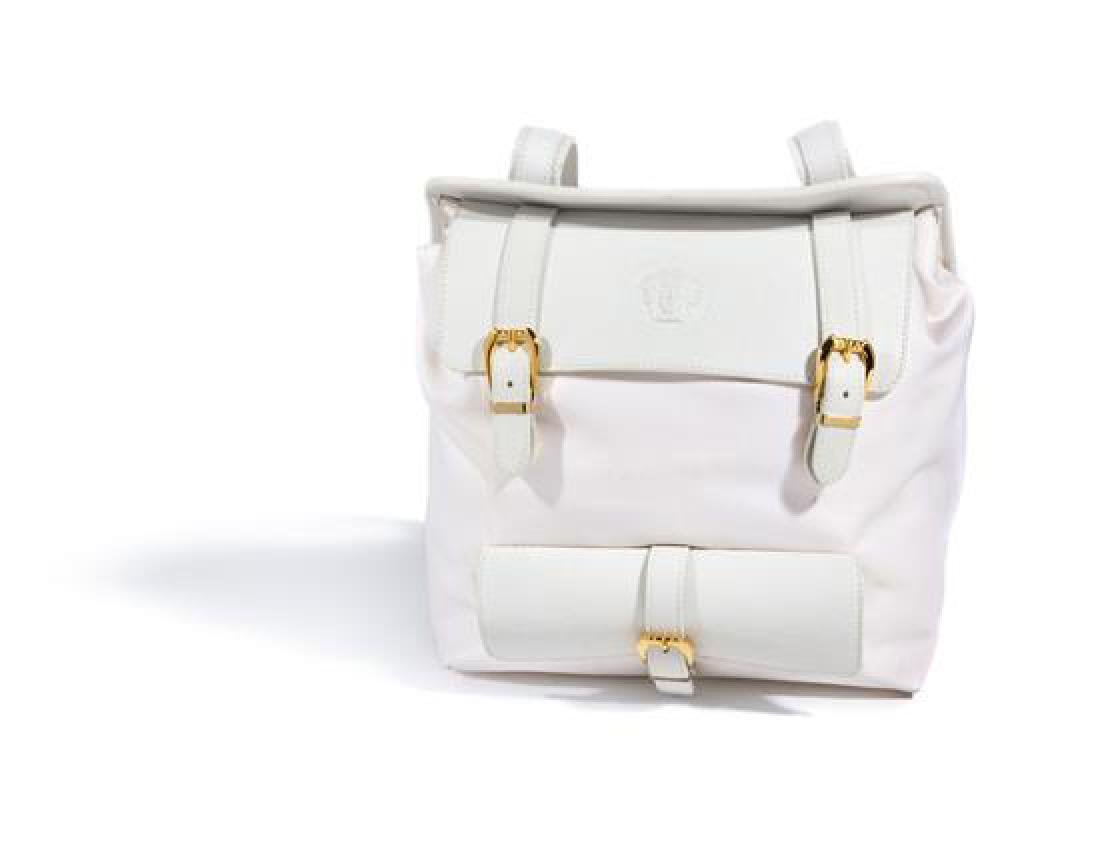 A Gianni Versace White Leather and Nylon Backpack,