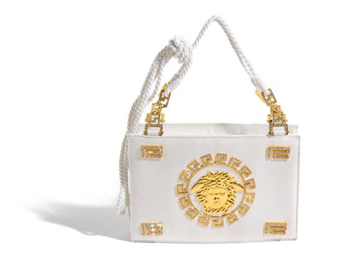 "A Gianni Versace White Silk Medusa Shoulder Bag, 9"" x"
