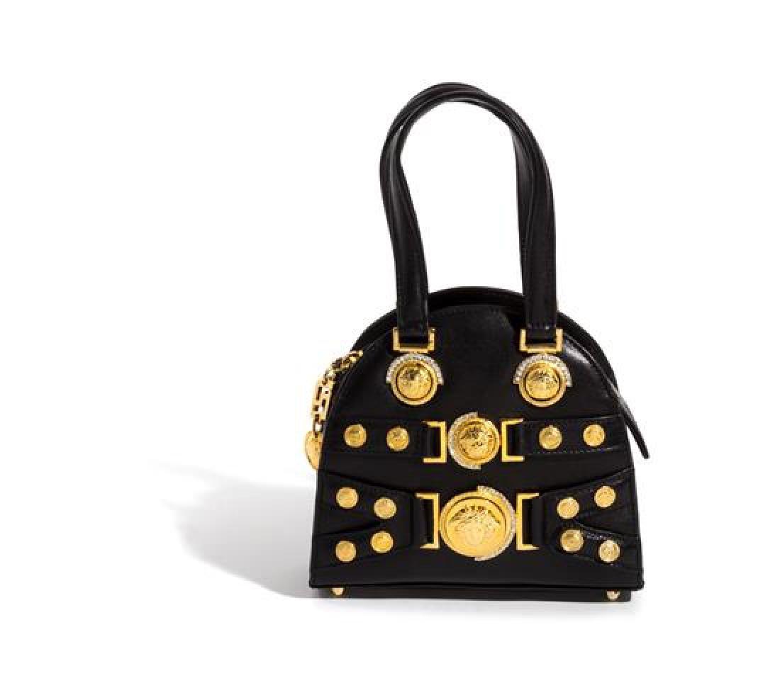 "A Gianni Versace Black Mini Medusa Bag, 6"" x 6.75"" x"
