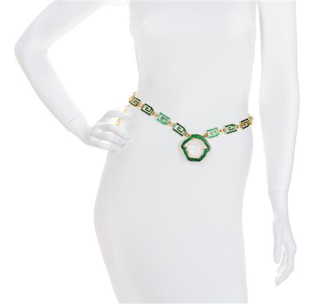 A Gianni Versace Green Enamel Greco Link Belt, Length: