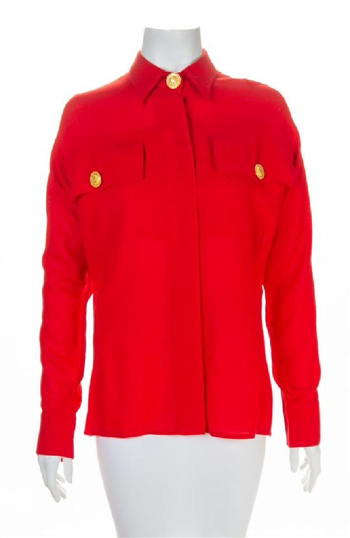 A Gianni Versace Red Shirt, Size 44.