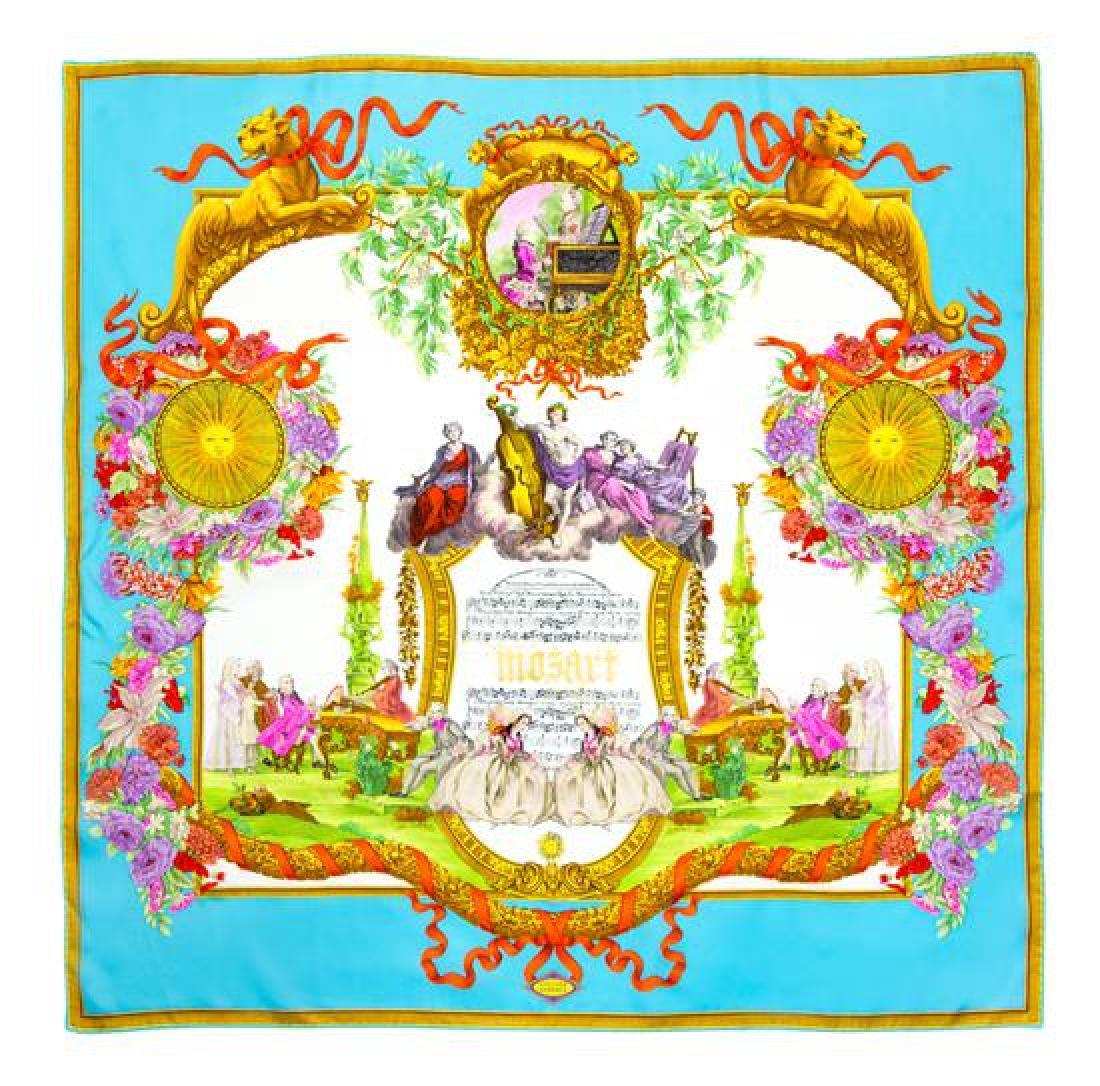 "A Gianni Versace Silk Atelier Print Scarf, 34"" x 34""."