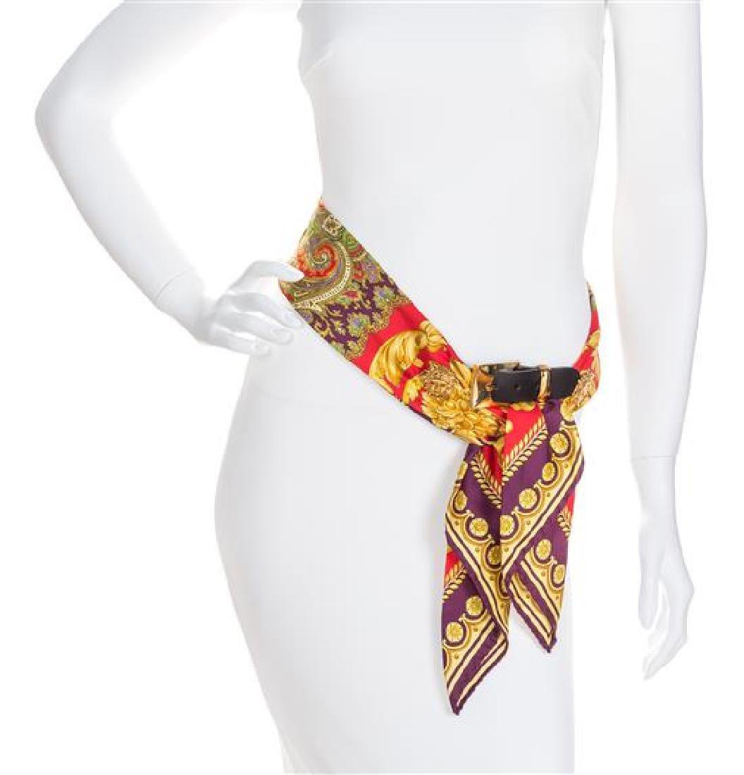 """A Gianni Versace Silk Scarf Belt, Length: 31""""- 33"""";"""