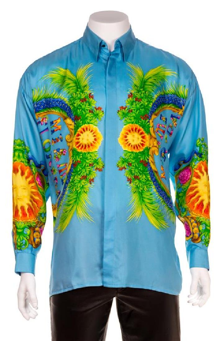 A Gianni Versace Silk Print Shirt, Size 50.