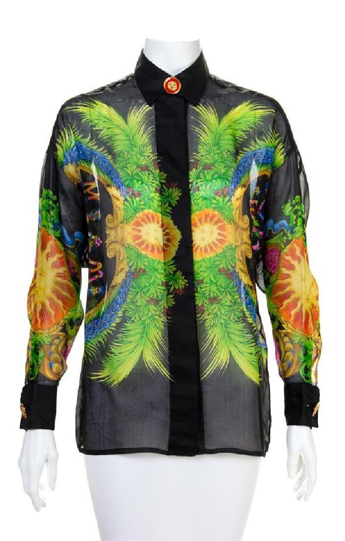 A Gianni Versace Silk Sheer Print Shirt, Size 38.