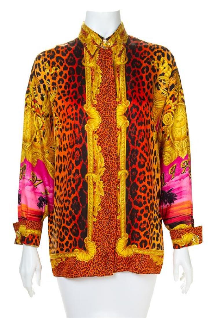A Gianni Versace Silk Print Shirt, Size 44.