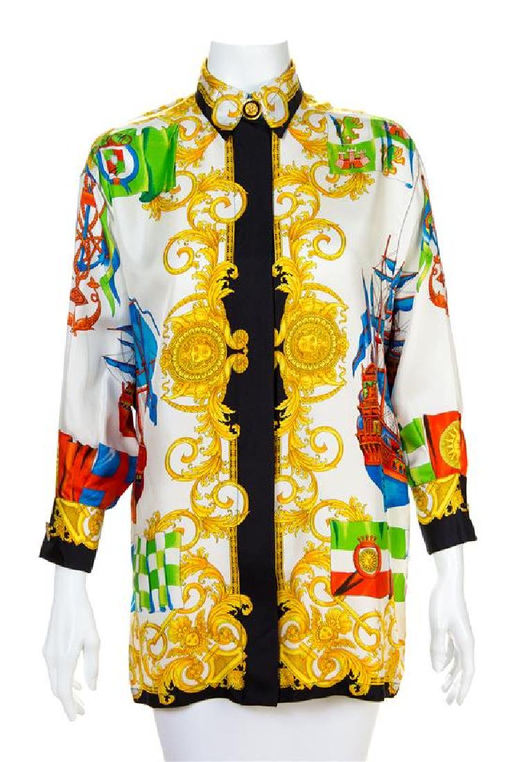 A Gianni Versace Silk Print Shirt, Size 40.