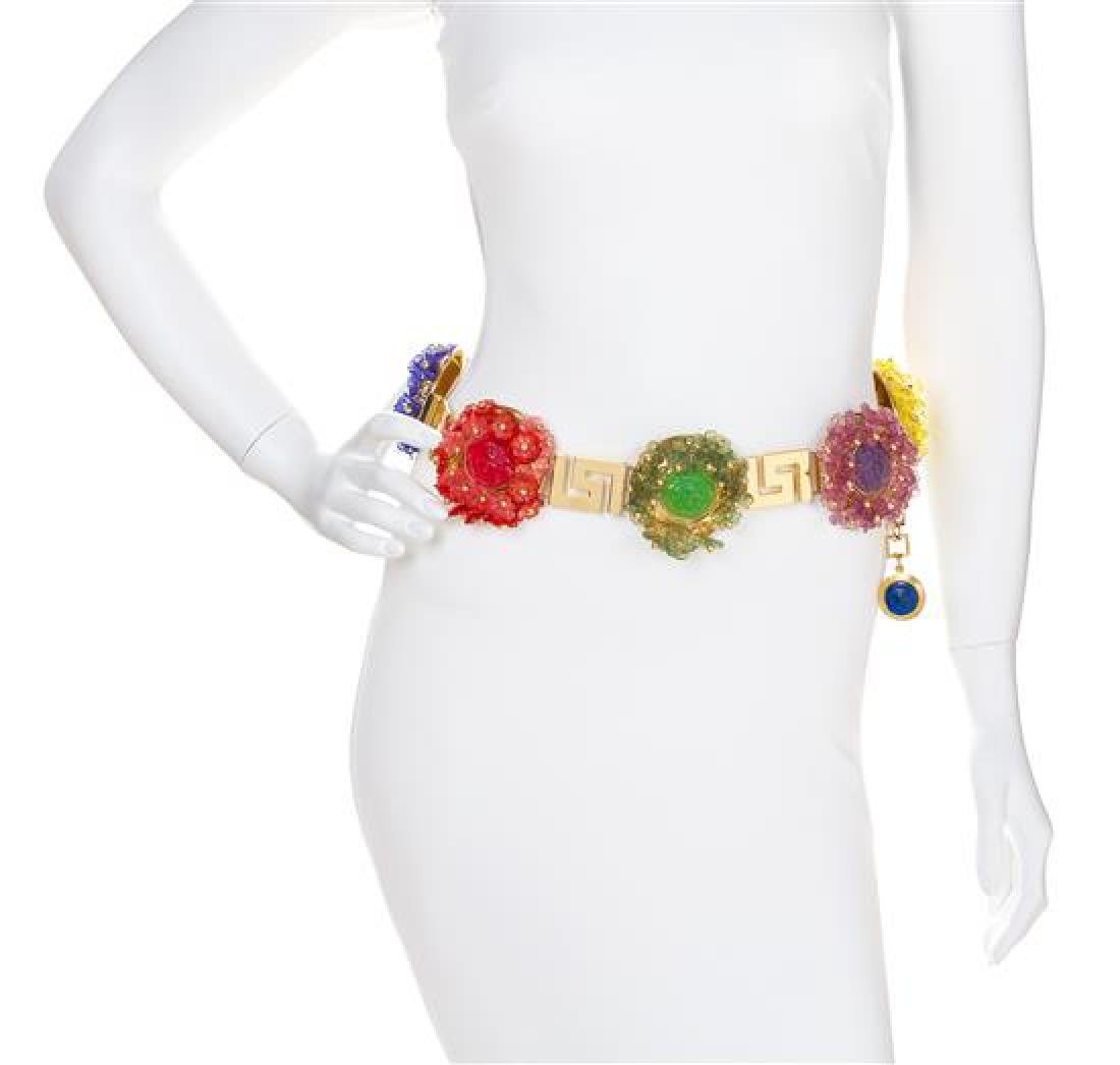 A Gianni Versace Multicolor Floral and Greco Link Belt,